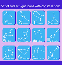 set zodiac signs icons with constellations vector image