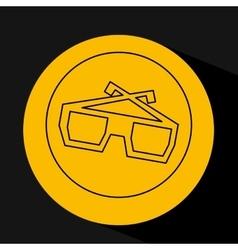 Silhouette head concept cinema glasses vector