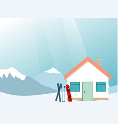 ski house in mountains ski vacation vector image