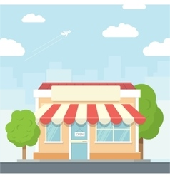 Small shop urban landscape in flat design style vector