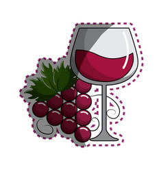 Sticker glass of wine with grape icon vector