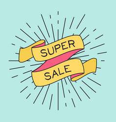 Super sale poster with ribbon and vintage light vector