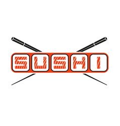 the word sushi logo with hasy chopsticks japanese vector image
