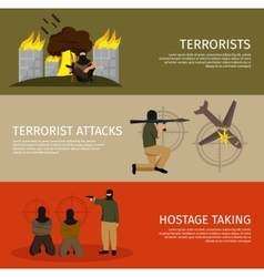 Three terrorism flat banner set vector