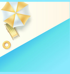top view on sun lounger under an umbrella at edge vector image