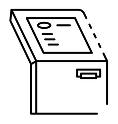 touch screen atm machine icon outline style vector image