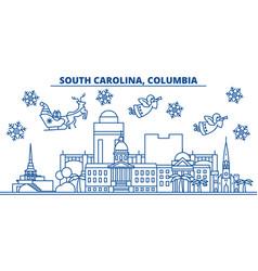 usa south carolina columbia winter city skyline vector image vector image