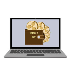 Wallet with ripple coins on a laptop screen vector