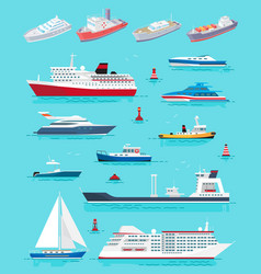 Water transport different kinds ships vector