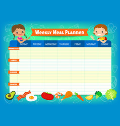 weekly meal planner with cute kids cartoon vector image