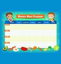Weekly meal planner with cute kids cartoon vector