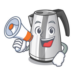 With megaphone electric stainless steel kettle on vector