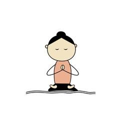 Woman practicing yoga lotus pose vector