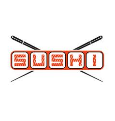 word sushi logo with hasy chopsticks japanese vector image