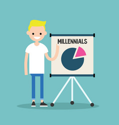 Young blond boy pointing on the flip chart with vector