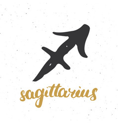 Zodiac sign sagittarius and lettering hand drawn vector