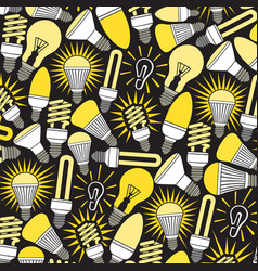 background pattern with light bulbs icons vector image