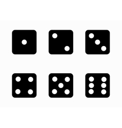 black dice cubes icons set vector image