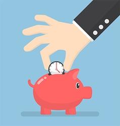 Businessman hand putting clock into piggy bank vector image vector image