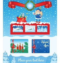 Christmas blue template vector image vector image