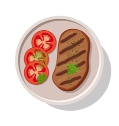 Grilled meat steak with tomatoes vector