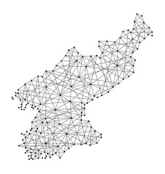 map of north korea from polygonal black lines vector image vector image