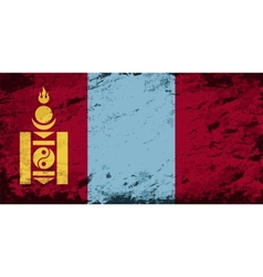 Mongolian flag Grunge background vector image