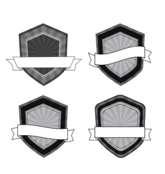retro black and white shields vector image