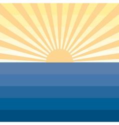 Sun with rays and sea marine creative background vector