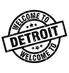 welcome to detroit black stamp vector image