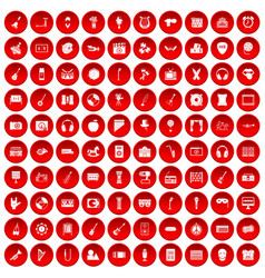 100 musical education icons set red vector
