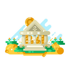 bank abstract building with golden coin in storage vector image