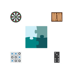icon flat entertainment set of backgammon darts vector image vector image