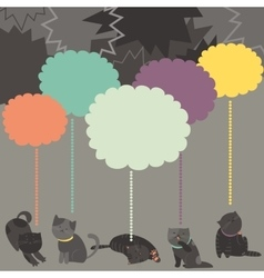 Monochrome cats with color Speech Bubble vector image vector image