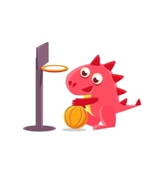 Red dragon playing basketball vector