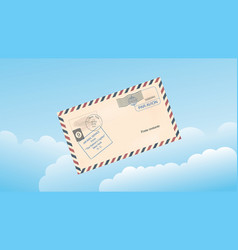 sky with clouds and a mail envelope vector image vector image