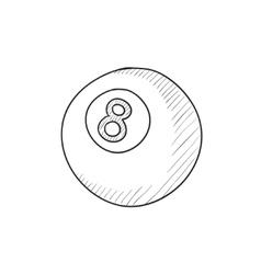 Billiard ball sketch icon vector image vector image