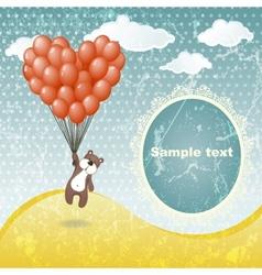 Cute teddy bear with a balloon vector image vector image