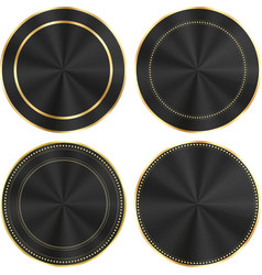 set of colorful glossy black with gold and centric vector image vector image