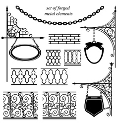 set of forged metal elements vector image vector image