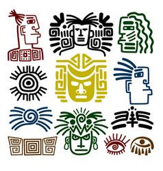 Tribal face drawings set vector