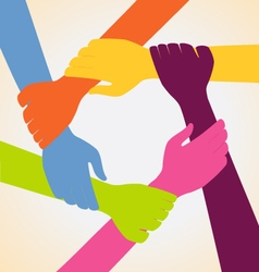 Creative Colorful Ring of Many Hands Team vector image