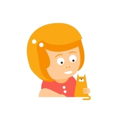 Little Red Head Girl In Red Dress Petting A Cat vector image