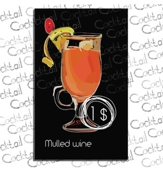 Mulled Wine with price on chalk board Template vector image vector image