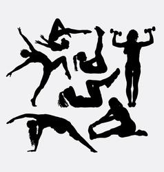 Spor training female health action silhouette vector image vector image