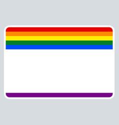 sticker name tag lgbt rainbow flag vector image