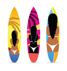 surfboard with girl on it set vector image