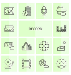 14 record icons vector