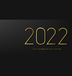 2022 happy new year background with golden vector image