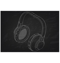 3d model of headphone on a black vector image